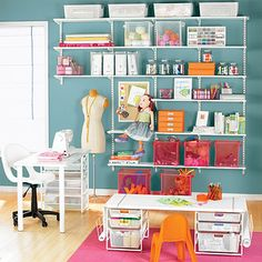 From stamping and scrapbooking to knitting and sewing, elfa can organize all of your hobbies.  Plus, it can transform your space into a place where the family can enjoy creative time together.  Adjustable shelves are infinitely customizable and are generously sized to hold anything you need to store.  An elfa desk and elfa Kids' Coloring Table are sold separately to complete the solution.  As your child grows, the table is easily reconfigured to a standard desk height by adding additional…