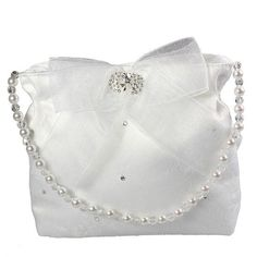 White Lace Communion Bag - Linzi Jay LD35 - with Diamonte Bow Beaded Handle - Girls First Communion Bag -  Vintage style girls First Holy Communion Handbag