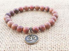 Natürliche Rosenholz Mala Yoga Armband buddhistischen Mala Armband Holz Perlen Stretch Armband Om Charme Yoga Zen spirituelle Holz Unisex Handgelenk Mala