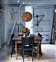 light blue dining room. in a barn. amazing.