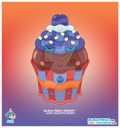 Kawaii Semi Dark Choco Cupcake by KawaiiUniverseStudio.deviantart.com on @DeviantArt