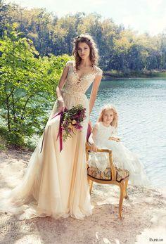 papilio 2017 bridal cap sleeves sweetheart neckline heavily embellished bodice tulle skirt romantic ivory color modified a line wedding dress sheer back chapel train (iora) mv
