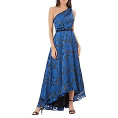 Women's Carmen Marc Valvo Infusion One Shoulder Gown (£325) ❤ liked on Polyvore featuring dresses, gowns, evening wear dresses, beaded dress, one shoulder evening gowns, blue gown and beaded gown