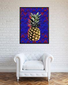 Pineapple printable pop art blue kitchen art blue by RSKSdesign