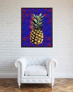 Pineapple printable pop art blue kitchen art blue by RSKSdesign