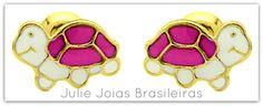 Brincos em ouro 750/18k e esmalte (750/18k gold and enamel earrings)