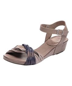 Loving this Pewter & Beige Leather Wedge Sandal on #zulily! #zulilyfinds