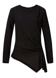 Seed - Polyester/Elastane Draped Front Top. Comfortable fitting silhouette features a scoop neck, long sleeves and draped front body. Available in Cream and Black as shown.