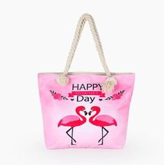 Flamingo Printed Casual Canvas Beach Bag - Enter Code for Off While Supplies Last Chain Shoulder Bag, Shoulder Handbags, Leather Shoulder Bag, Shoulder Bags, Girls Messenger Bag, Mini Messenger Bag, Summer Tote Bags, Buy Bags, Women's Bags