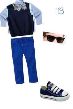 Cute bow tie , converse , polo dress shirt, blue skinny jeans, sweater vest and sunglasses outift combo for toddler boy!!! #adorable #fancy #formal #neat #classy #dapper #handsome