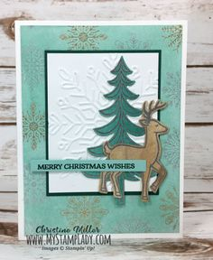 Stampin' Up! Santa's Sleigh. Video tutorial for sponged background wtih glycerin. Find Supplies at www.mystamplady.com