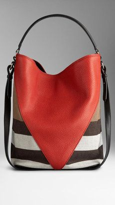 Burberry Medium Canvas Check Leather Chevron Hobo Bag. L:25/H:34/P:19cm.
