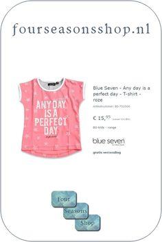 www.fourseasonsshop.nl A Perfect Day, Four Seasons, T Shirt, Blue, Shopping, Supreme T Shirt, Tee Shirt, Seasons Of The Year, Tee