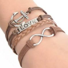 """Wax Rope Braiding Bracelets Coffee W/Antique Silver Infinity Symbol & Anchor & Rectangle """"Love"""" Findings 20cm(7 7/8"""")long"""