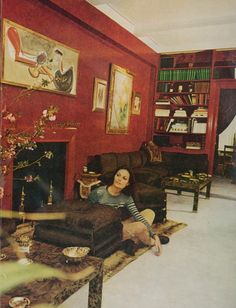 take Diane von Furstenberg. she was a Princess, married . Furniture Layout, Painting Furniture, Vintage Interiors, Red Walls, Beautiful Space, Color Theory, Feng Shui, Diane Von Furstenberg, Color Inspiration