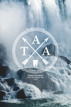 Chasing Ghosts. The Amity Affliction. Circle. Modern. Hip. Illustration. White & Blue. Nature. Waterfalls. River. Stone. Advertising. Brand. Clean. Simple. Typography.