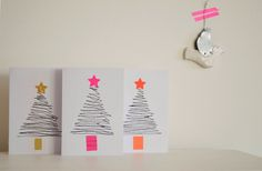 Vier Vandaag!: tutorial kerstkaarten maken- DIY christmas cards Christmas Mail, Grinch Stole Christmas, Kids Christmas, Christmas Crafts, Christmas Decorations, Xmas Cards To Make, Homemade Christmas Cards, Chrismas Cards, Karten Diy