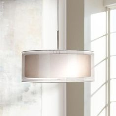 "Possini Euro Double Drum 20"" Wide White Pendant Light. Love the clean lines. This would go with so many styles!"