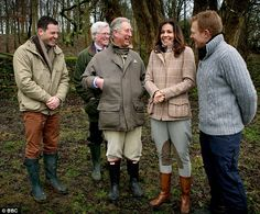 These outfits are perfection. Telly ho: The prince, centre, shares a laugh with Countryfile's (from left) Matt Baker, John Craven, Julia Bradbury and Adam Henson