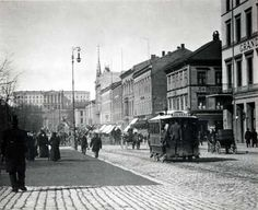 Oslo's main street Karl Johan 1890s Oslo, Main Street, Street View, Borealis Lights, Norwegian People, Building Front, Historical Images, School Photos, City Break