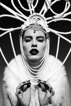 Art Deco Headdress headpiece shabby chic pearl rhinestones metal couture fantasy burlesque  MAISON Kiss Kiss London
