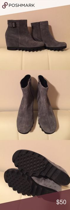 Aerosoles Suede Booties Style is called Confidential. Genuine suede, hidden wedge booties. Like new! I wore them once just too big for me. Love them and would be keeping. They are extremely comfortable. If you wear 6.5-7 these should fit perfectly. No original box but I have one I can ship them in. 👌🏼 AEROSOLES Shoes Ankle Boots & Booties