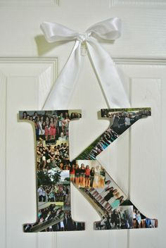 Letter from a craft store with pictures (wallet size) glued on using Mod Podge. 2-3 layers of Mod Podge on top of the pictures. Ribbon hot-glued to the back #diy #dorm #decoration #wallart