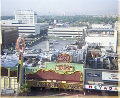 Downtown Las Vegas, Aug. 1968. Golden Nugget had just expanded into the space previously occupied by Lucky Casino, and would soon expand further, taking over Nevada Club. Photo from 11th floor of The Mint by tonopah06