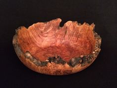 Unique Wood Bowl with Natural Bark Edge by Kinda Knotty Woodcrafts