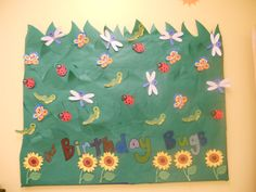 Our summer Birthday Board, I admit it's not amazing, but it's my first time to ever do a bulletin board, ever.