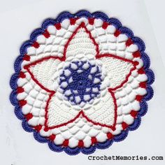 Our petite crochet doily depicts the 4th in a very patriotic way! Red, white and blue, stars, scallops and more lend beauty and patriotism to a delicate doily that will look great anywhere in your home!