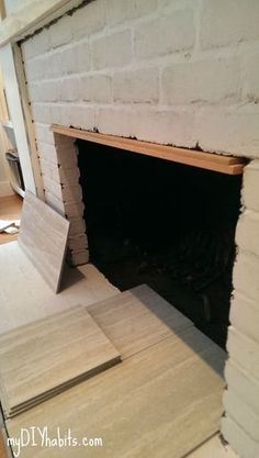 Hottest Free of Charge thin Brick Fireplace Strategies Step Tile. Add thin layer of thinset mortar to our clean bricks Faux Brick, Fireplace Remodel, Reface, Reface Fireplace, Exposed Brick, Farmhouse Fireplace, Old Bricks, Faux Fireplace Diy, Fireplace