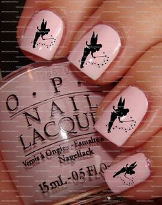 Cute Pink Tinker Bell Nails♡♡♡♡♡.