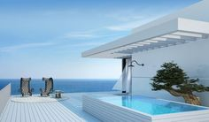 Tel Aviv Penthouse Patio And Pool Very Clean Modern Design Ideas With Blue Sky Landscape Bring luxury at your house with Outdoor Hot Tub Ideas Home decoration
