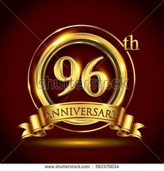 96th golden anniversary logo, ninety six years birthday celebration with gold ring and golden ribbon.