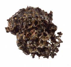 Pallasite (stony-iron meteorite), brown skinned and metallic, full of voids, found in 1749 at Krasnoyarsk Krai, Siberia, Russia