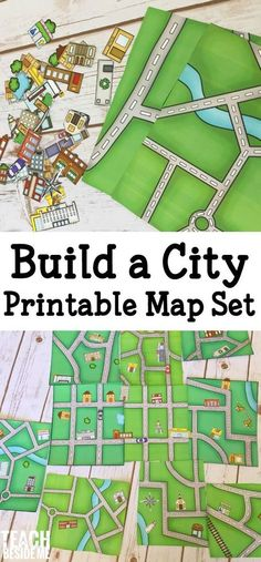 build a city map- printable geography set for kids! A fun way to learn about mapping and your neighborhood.