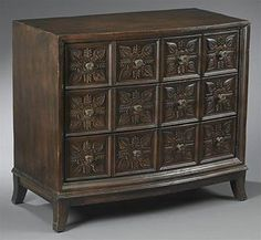 Dark Brown Three Drawer Chest 45537. h1Dark Brown Three Drawer Chest 45537_h1This Dark Brown Three Drawer Chest 45537 features distressed wood with dark brown finish, raised leaf design on each square with flower shaped metal knob, and three large drawers--t.. . See More Bedroom Chests at http://www.ourgreatshop.com/Bedroom-Chests-C1076.aspx