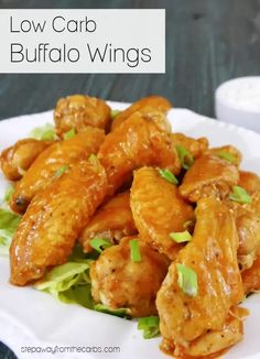 These low carb buffalo wings are buttery and spicy - and completely addictive! Sugar free, gluten free, and keto friendly recipe. Best Low Carb Recipes, Low Sugar Recipes, No Sugar Foods, Keto Recipes, Favorite Recipes, Low Carb Blog, Low Carb Keto, Low Carb Appetizers, Appetizer Recipes