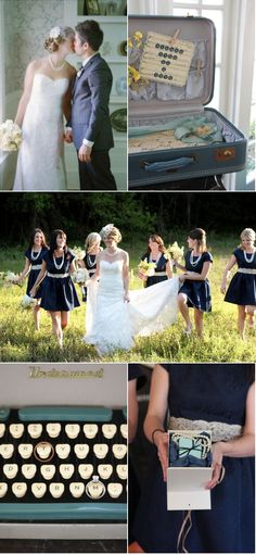 This bridesmaid dresses are perfect! Navy blue, pearls and lace! And who doesn't want an old fashioned type writer at their wedding?