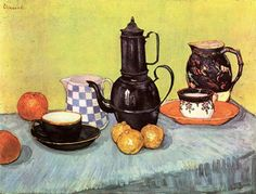 Still Life with Blue Enamel Coffeepot, Earthenware and Fruit by Vincent Van Gogh, 1888.