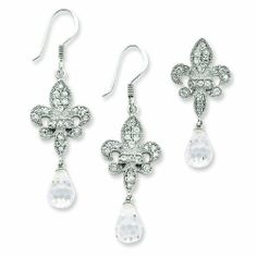 Sterling Silver Fleur-de-lis Crystal Earring & Pendant Set. Jewelrypot. $88.99. Your item will be shipped the same or next weekday!. Fabulous Promotions and Discounts!. 30 Day Money Back Guarantee. 100% Satisfaction Guarantee. Questions? Call 866-923-4446. All Genuine Diamonds, Gemstones, Materials, and Precious Metals