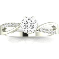 0 58 Ctw 14k White Gold Elegant Twisting Split Shank Engagement Ring W Round 5 Carat