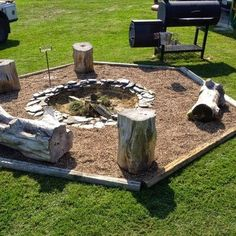 The backyard fire pit and seating idea!!