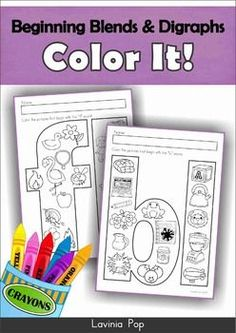 FREE Color It MEGA BUNDLE Sampler. Beginning Sounds, Beginning Blends, Ending Sounds, Word Families, Phonics (digraphs, r-controlled vowels and more).