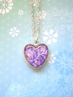 Flower purple and pink splatter glass dome heart by StarrJoy16, $8.00