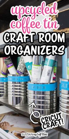 AD: Cricut makes it easy to add craft room organization using supplies from around the house. Use tin cans and coffee tins to create pretty and modern tin can storage holders for your craft room or home office. Coffee Can Crafts, Tin Can Crafts, Vinyl Crafts, Decor Crafts, Craft Organization, Craft Storage, Business Organization, Organizing Ideas, Diy Craft Projects