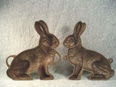 Vtg AUTHENTIC GRISWOLD Mfg. Co. ERIE, PA. RABBIT CAST IRON CAKE MOLD #862/863