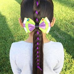 """✨""""Our days are happier when we give people a bit of our heart rather than a piece of our mind.""""✨ . Just a simple 4 strand ribbon braid into a low ponytail 💜 She's wearing a beautiful Buzz lightyear inspired bow by @extrasweetbowtique 🚀 . . We chose purple ribbon in honor of #SpiritDay which is an annual anti bullying campaign that inspires millions of people to take a stand against bullying of any kind and in support of #LGBTQ youth 🏳️🌈 @glaad . . Today we #ChooseKindness ☮️ Please be a…"""
