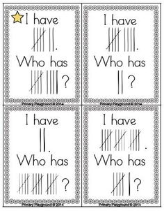 I Have... Who Has? game using tally marks from 1-20. $